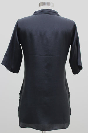 Silk Blouse Tunic - Black