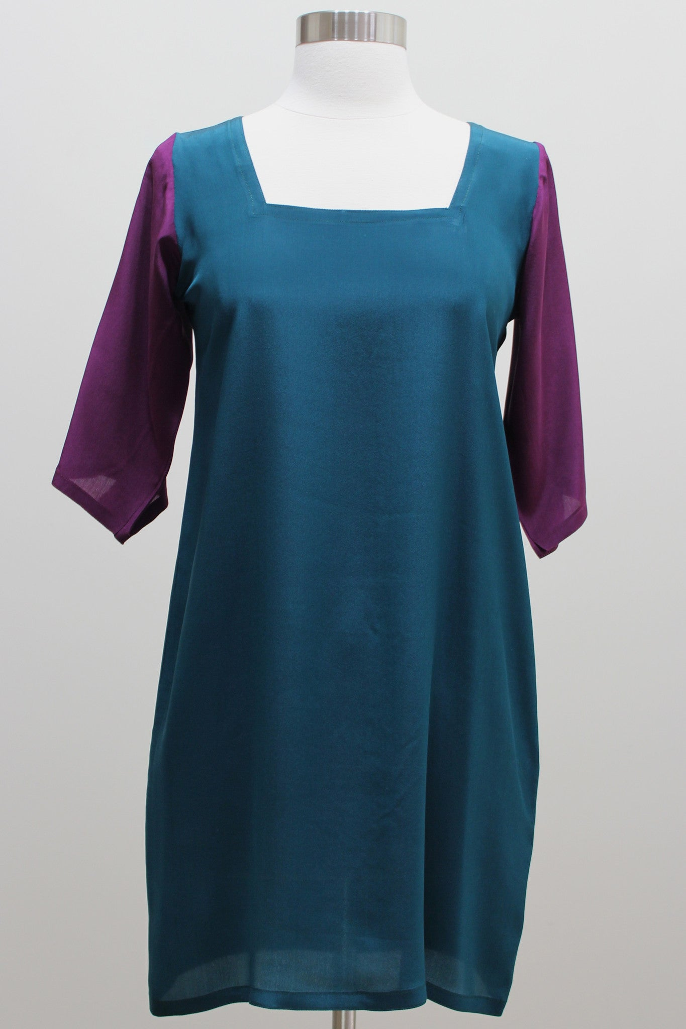 Silk Dress - Dark Emerald Green and Eggplant Colorblock