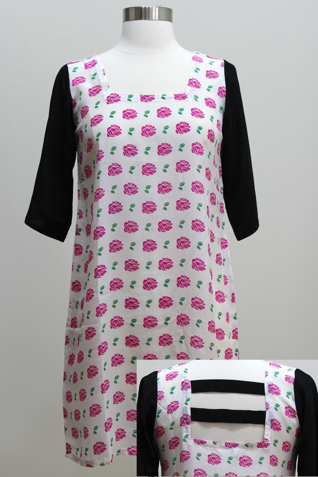 Silk Dress - Rose and Black Colorblock