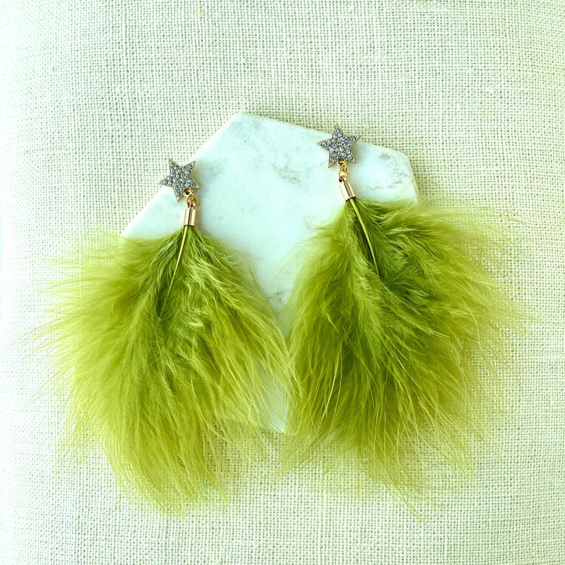 Feathers Green Chartreuse Earrings