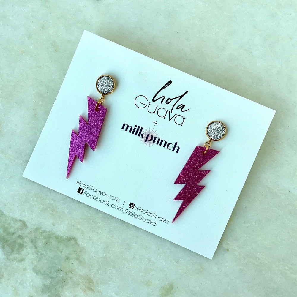 Bolt Magenta Earrings