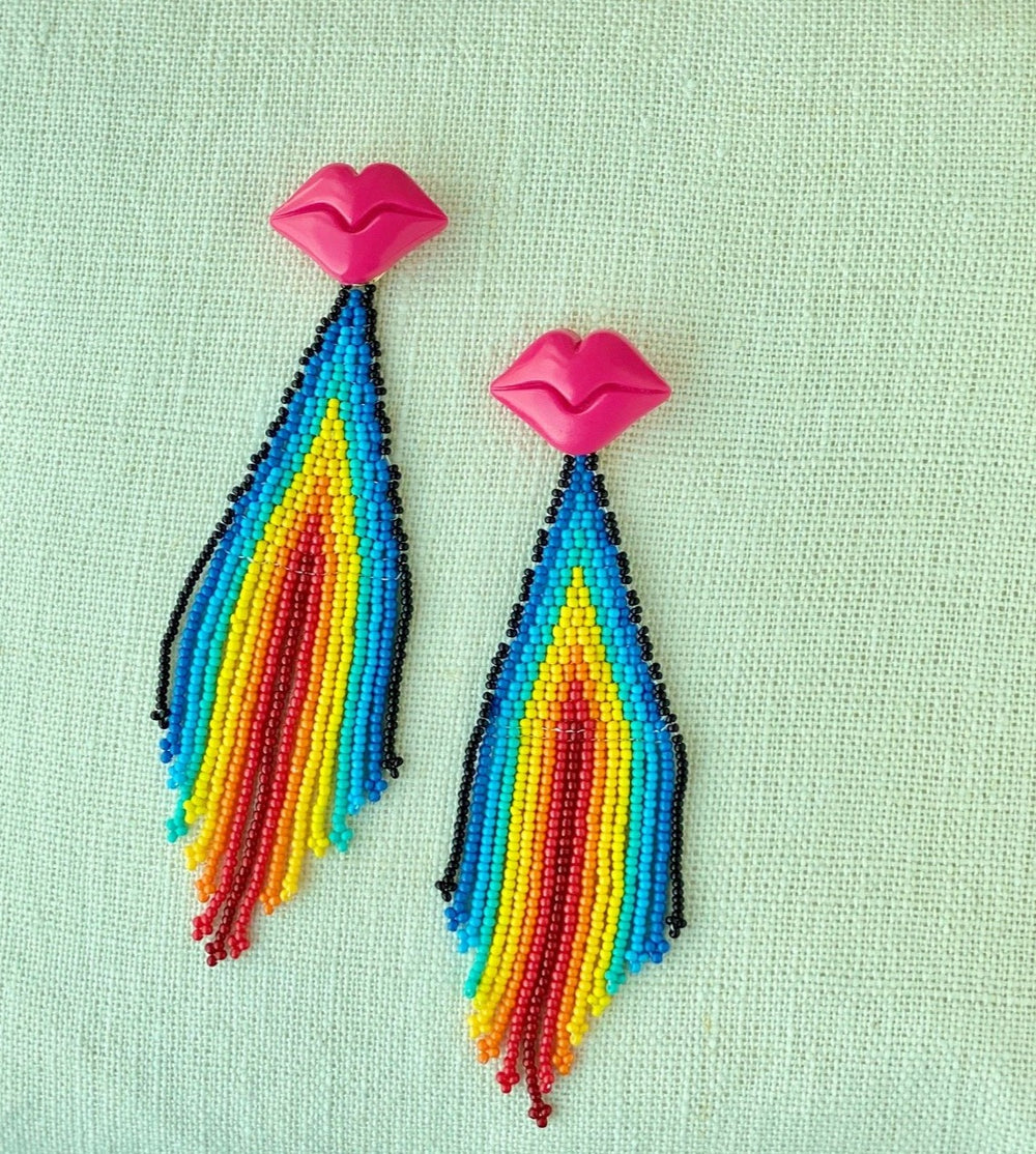 Lips Like Rainbow Kisses Earrings