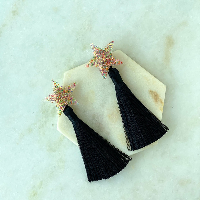 Confetti Black Tassel Earrings