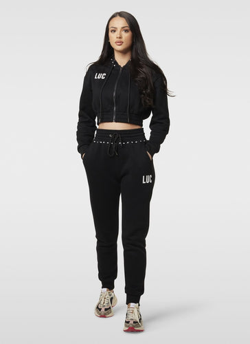 BLACK HIGH WAISTED JOGGERS - LUC Clothing