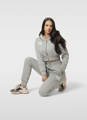 GREY CROP ZIP HOODIE - LUC Clothing