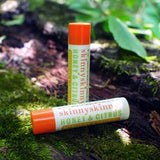 skinnyskinny's Organic Lip Balm in Clover Honey and Citrus.