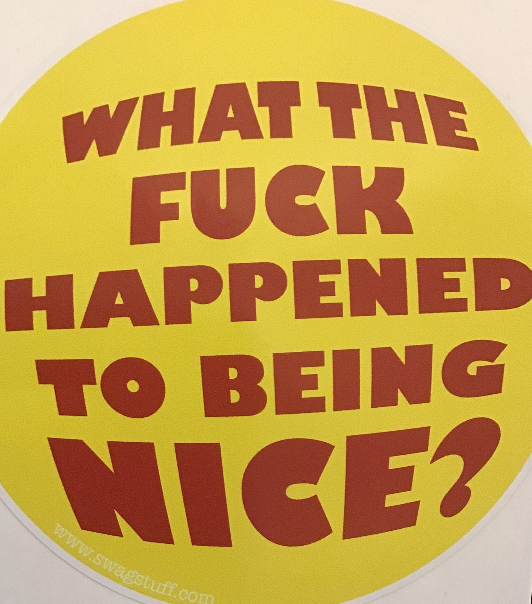Sticker -what the fuck happened to being nice