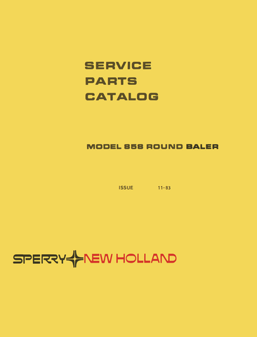New Holland 858 Round Baler Service - Parts Catalog
