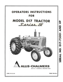 Allis Chalmers Model D17 Tractor Series IV (Series Four) - Operator's Manual - Ag Manuals - A Provider of Digital Farm Manuals - 1