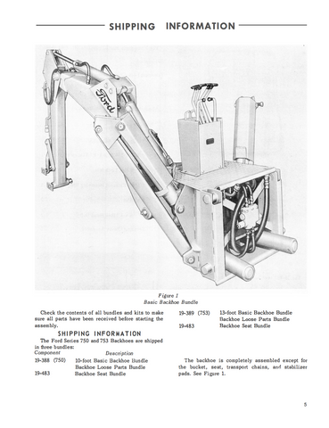 Ford Industrial 723, 750, and 753 Series Backhoe manual