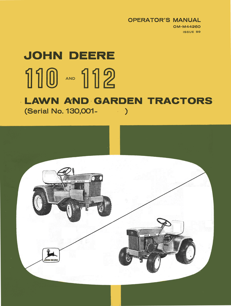 John Deere 110 and 112 Lawn and Garden Tractors - Operator's Manual - Ag  Manuals -