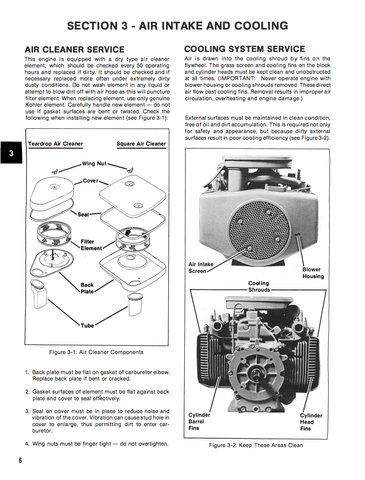 Kohler Engines 4 Cycle 17hp Twin Cylinder Model KT17 - Service Manual