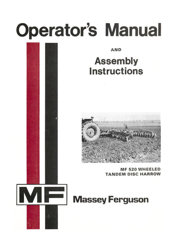 Massey Ferguson MF 520 Wheeled Tandem Disc Harrow - Operator's Manual and Assembly Instructions - Ag Manuals - A Provider of Digital Farm Manuals - 1