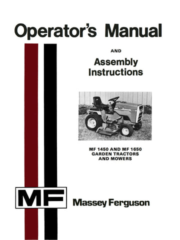 Massey Ferguson MF 1450 and MF 1650 Garden Tractors and Mowers - Operator's Manual - Ag Manuals - A Provider of Digital Farm Manuals - 1