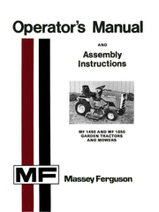 Mey Ferguson MF 1450 and MF 1650 Garden Tractors and Mowers - Operator's on