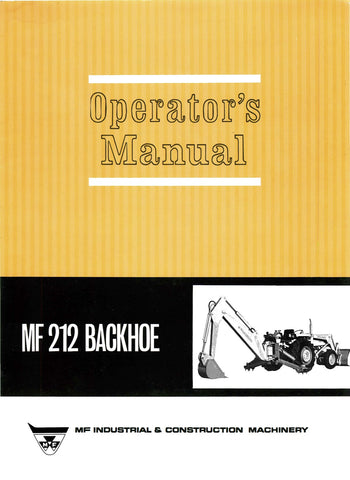 Massey Ferguson Industrial MF 212 Backhoe - Operator's Manual