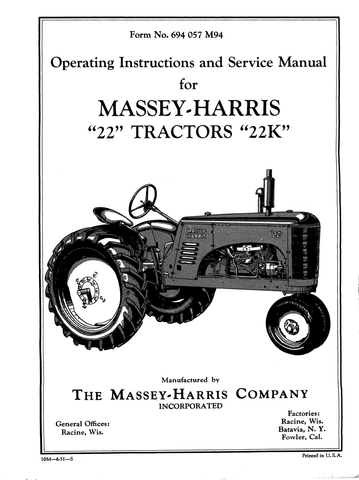 "Massey-Harris ""22"" Tractors ""22K"" - Operating Instructions and Service Manual - Ag Manuals - A Provider of Digital Farm Manuals - 1"