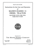 Massey-Harris 33 Diesel Tractors - Instructions for Care and Operation - Ag Manuals - A Provider of Digital Farm Manuals - 1