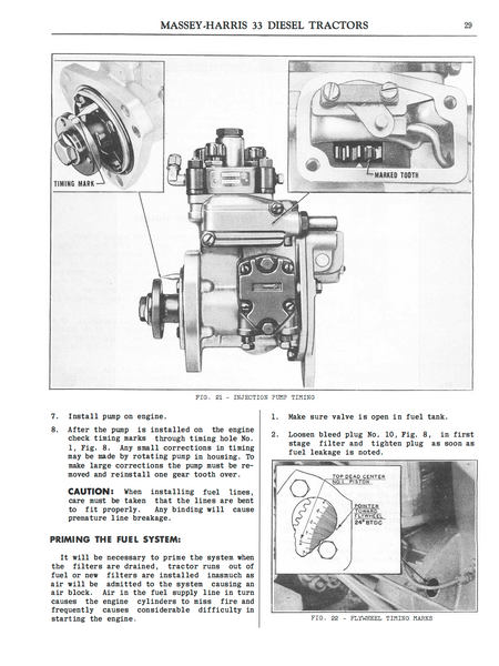 MasseyHarris 33 Diesel Tractors  Instructions for Care