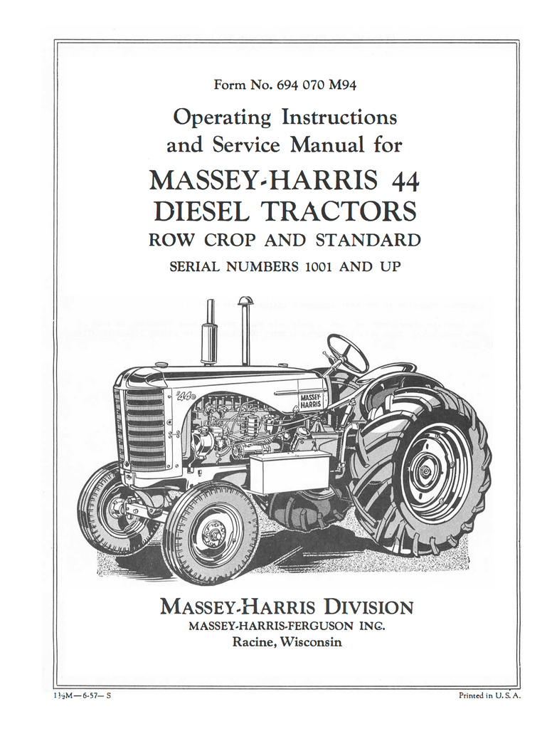 Massey-Harris 44 Diesel Tractors - Operating Instructions and Service Manual  - Ag Manuals -