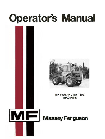 Massey Ferguson MF 1500 and MF 1800 Tractors - Operator's Manual - Ag Manuals - A Provider of Digital Farm Manuals - 1