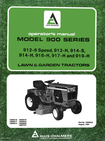 Allis Chalmers Model 900 Series Lawn & Garden Tractors - Operator's Manual - Ag Manuals - A Provider of Digital Farm Manuals - 1
