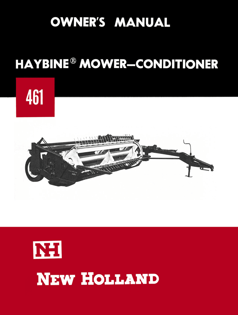 New Holland 461 Haybine Mower-Conditioner - Owner's Manual - Ag Manuals - A  Provider