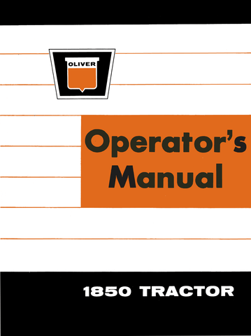 Oliver 1850 Tractor - Operator's Manual on