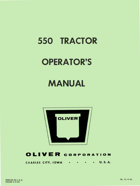 Oliver 550 Tractor Operator S Manual
