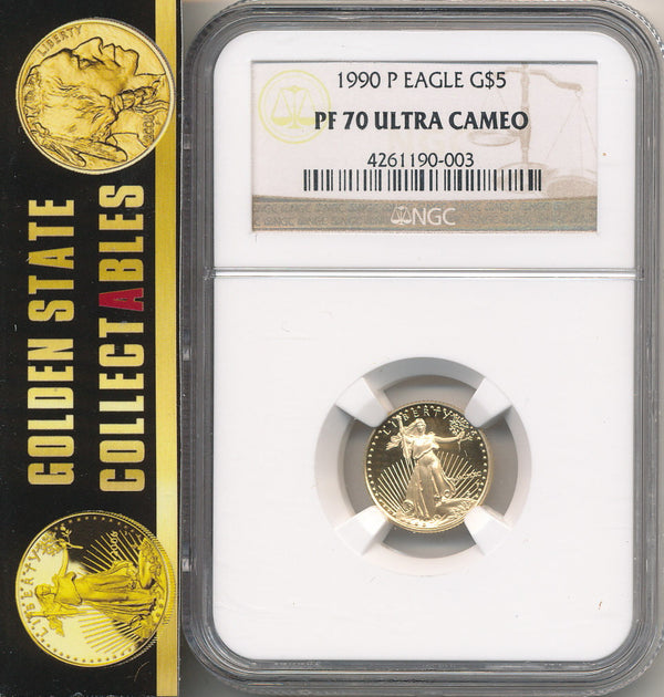1990 P $5 Proof Gold Eagle NGC PF70 Ultra Cameo