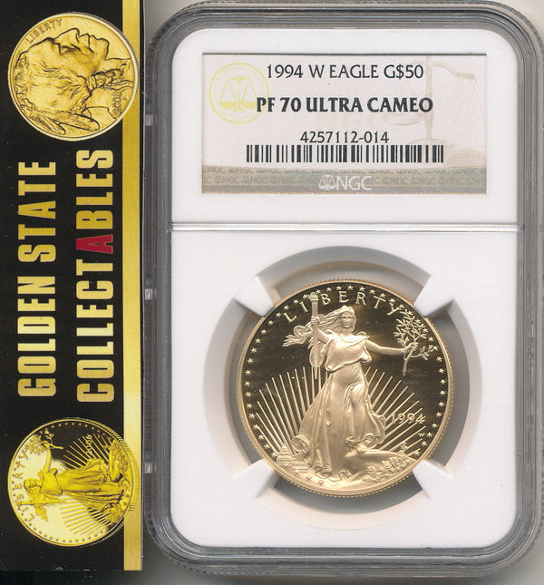 1994 W $50 Proof Gold Eagle 1 Oz. NGC PF70 Ultra Cameo Perfect Coin
