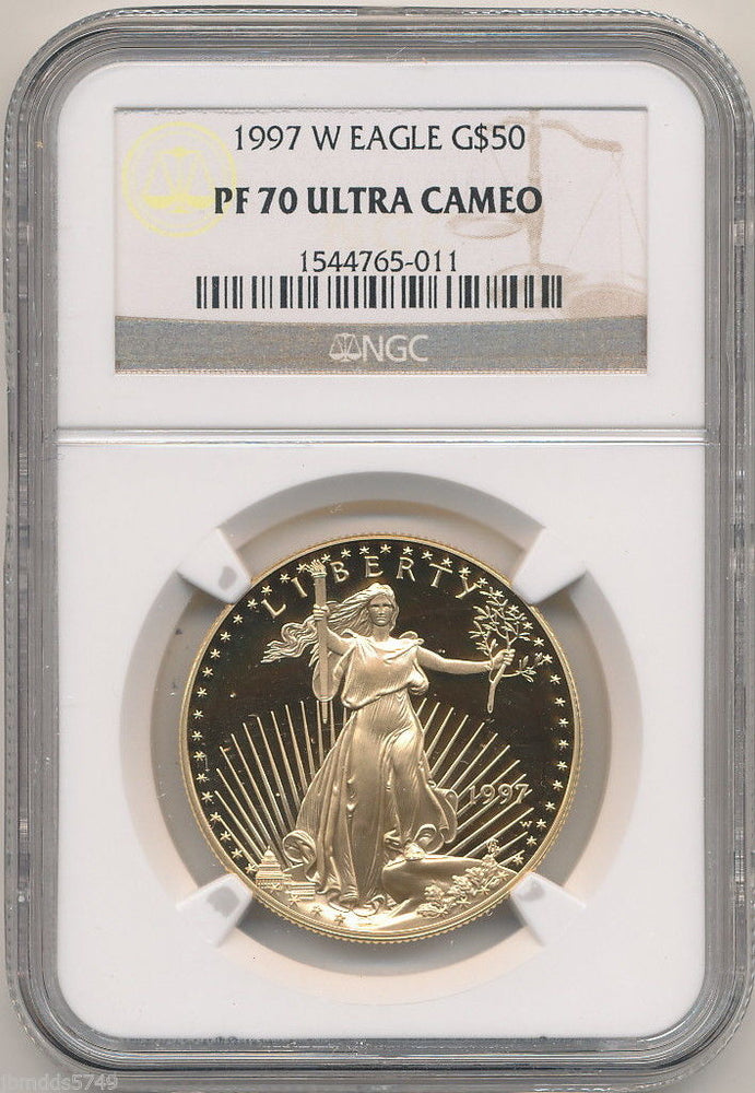 1997 W $50 Proof Gold Eagle NGC PF70 Ultra Cameo Key Date Perfect Coin