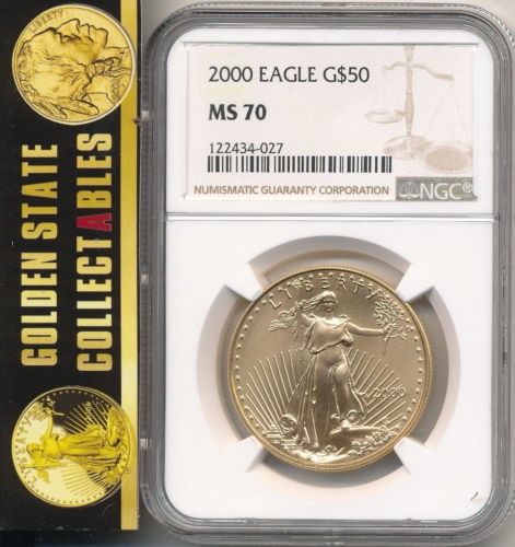 2000 $50 1 Oz. Gold Eagle NGC MS70