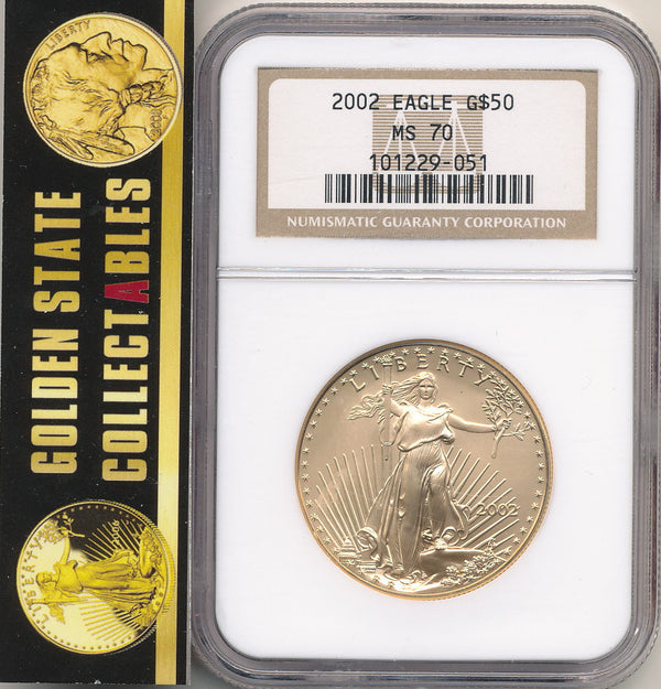 2002 Uncirculated $50 Gold Eagle NGC MS70 RARE PERFECT GRADE