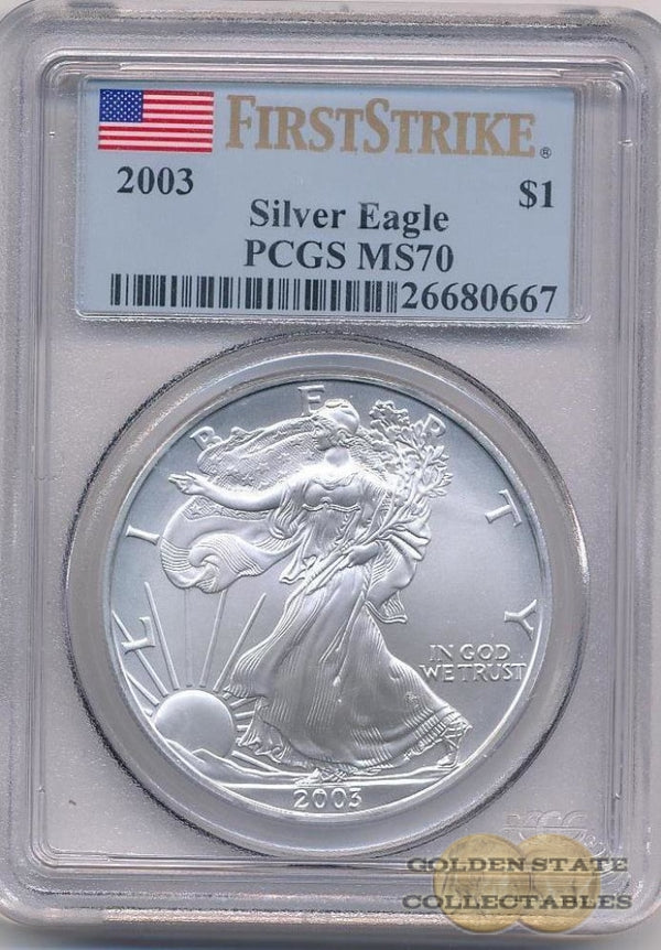 2003 Silver Eagle Pcgs Ms70 First Strike