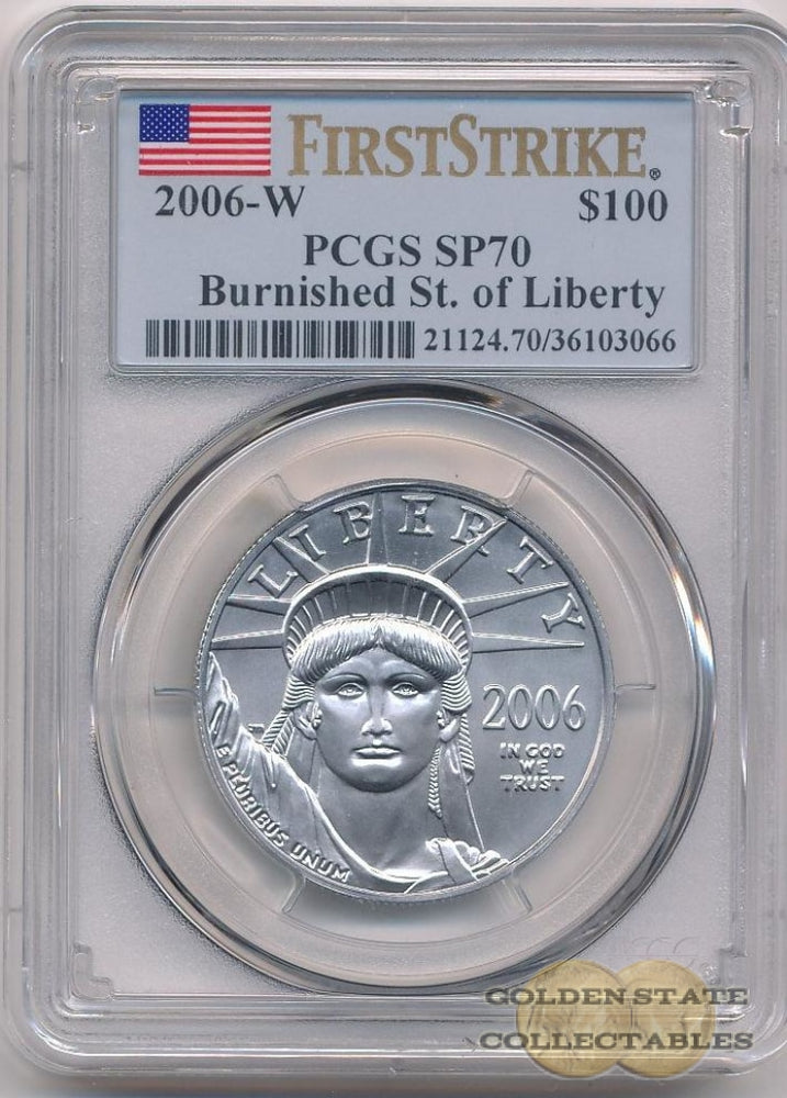 2006 W $100 Burnished Platinum Eagle PCGS SP70 First Strike