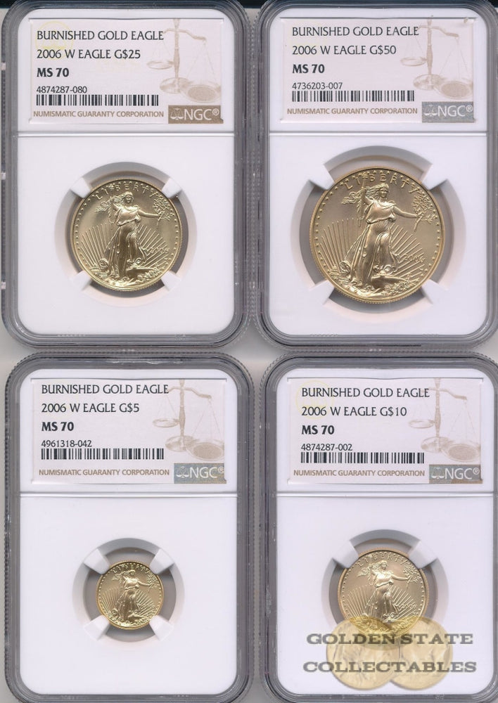 2006 W Burnished Gold Eagle NGC MS70 4 Coin Set
