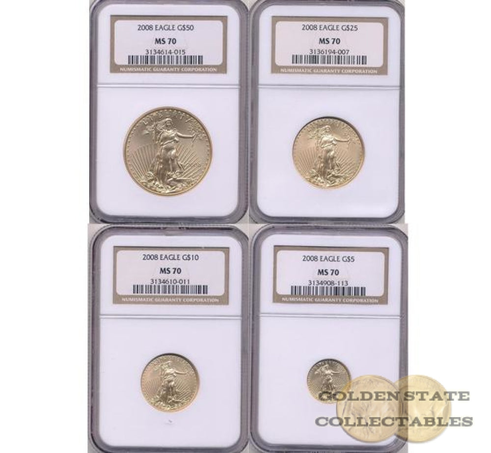 2008 Gold Eagle NGC MS70 4 Coin Set