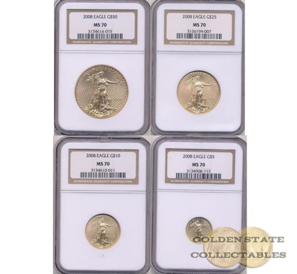 2008 Gold Eagle Ngc Ms70 4 Coin Set Eagles
