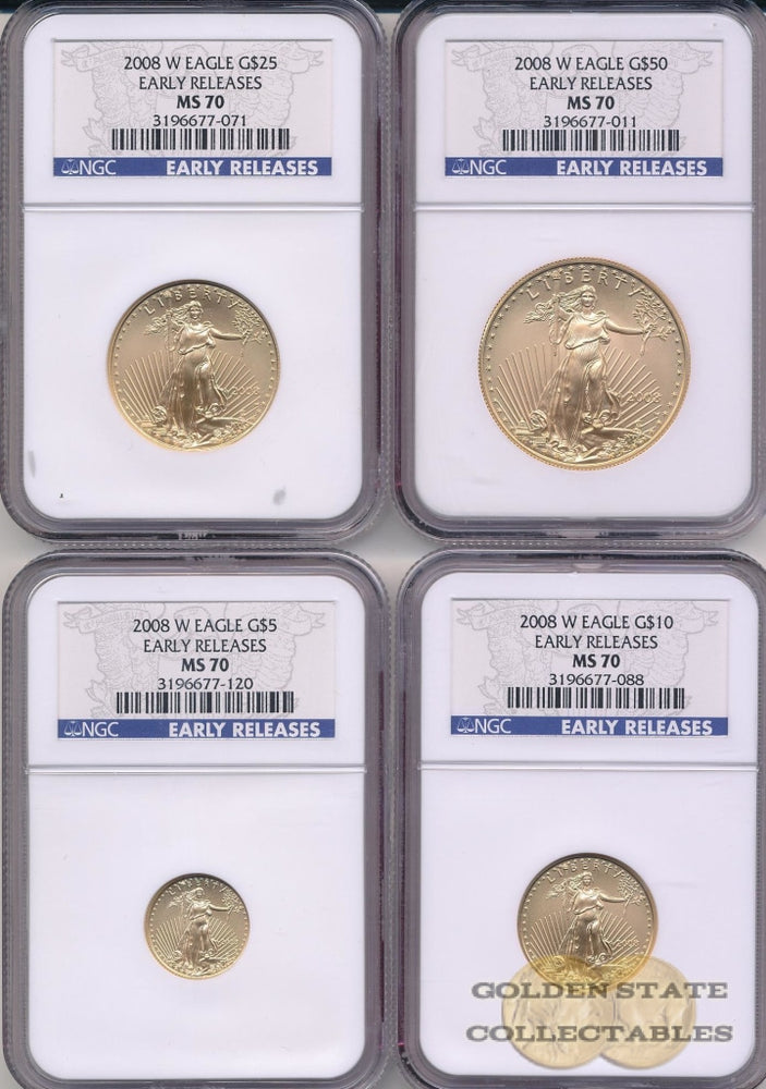 2008 W Burnished Gold Eagle NGC MS70 Early Releases 4 Coin Set