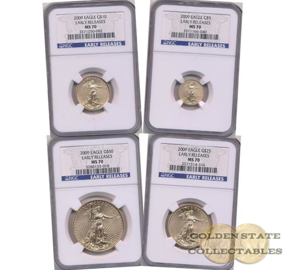 2009 Gold Eagle Ngc Ms70 Early Releases 4 Coin Set Platinum