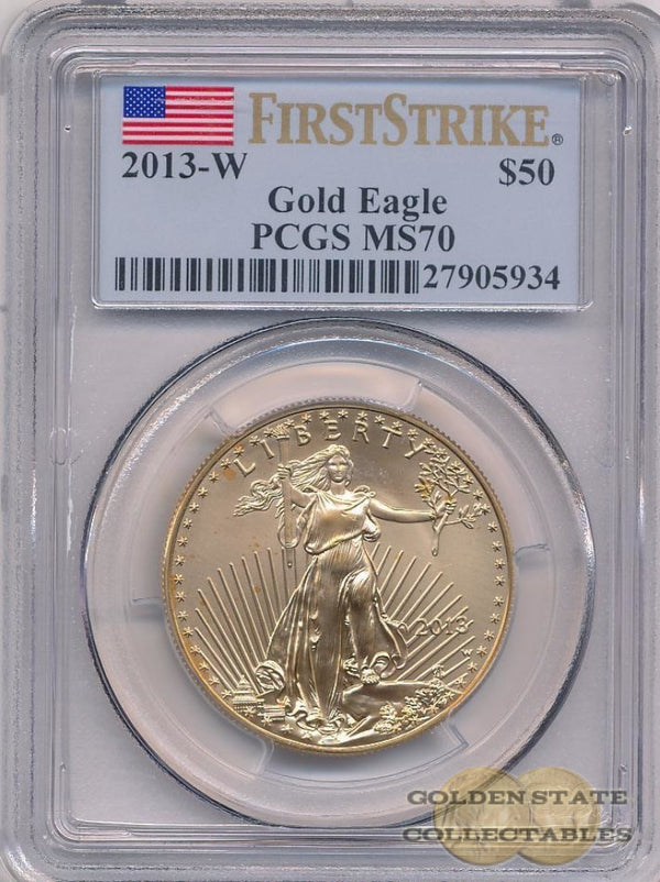 2013 W $50 Burnished Gold Eagle Pcgs Ms70 First Strike