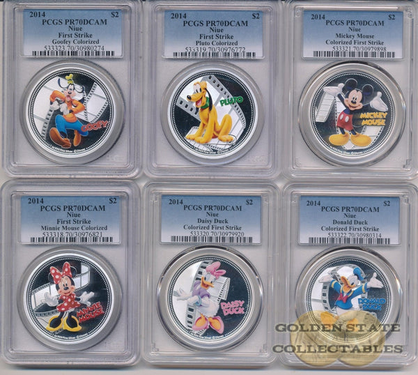 2014 $2 Niue Colorized Donald Duck Pcgs Pf70 Dcam First Strike Rare Silver