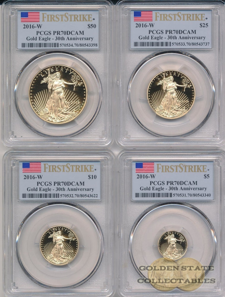 2016 W Gold Eagle PCGS PR70 DCAM First Strike 4 Coin Set