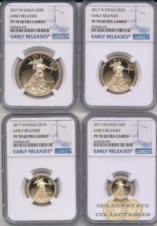 2017 W Gold Eagle Ngc Pf70 Ucam Early Releases 4 Coin Set