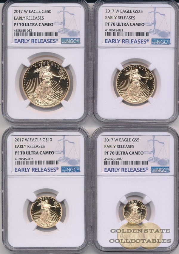 2017-W Gold Eagle Ngc Pf70 Ucam Early Releases (4 Coin Set)