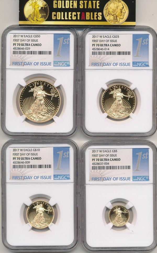 "2017 W 4 COIN PROOF GOLD EAGLE SET NGC PF70 UCAM FIRST DAY OF ISSUE ""1ST""LABEL"