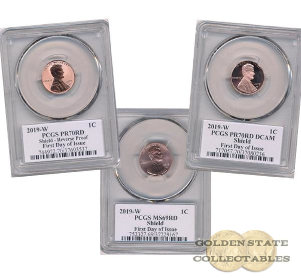 "2019 1st ""W"" Lincoln Cent Set MS69 RD/ PF70 RD/ Reverse PF70 RD PCGS First Day of Issue Lyndall Bass Signature"