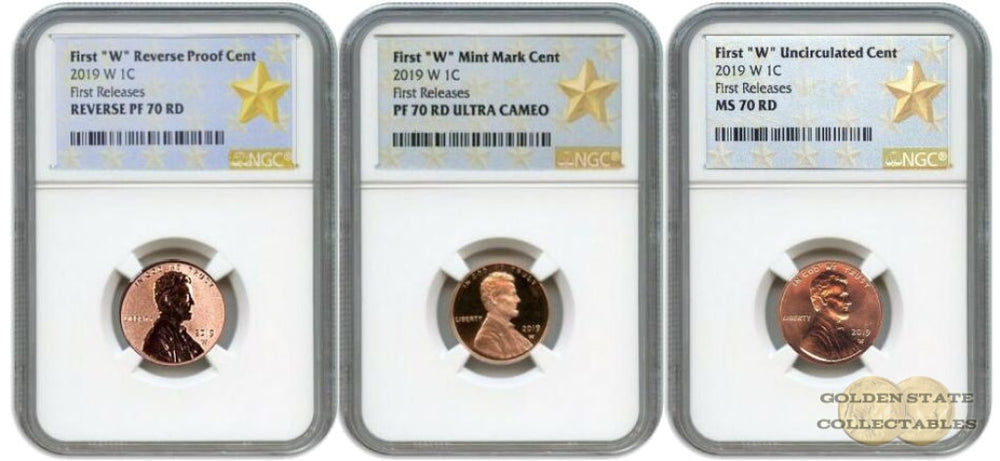 "2019 1st ""W"" Lincoln Cent Set MS70 RD/ PF70 RD/ Reverse PF70 RD NGC First Releases Gold Star Labels"