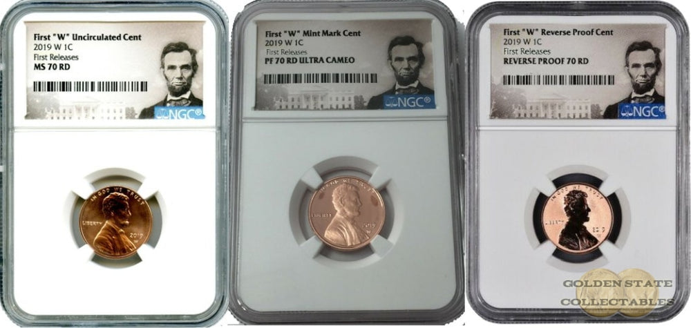 "2019 1st ""W"" Lincoln Cent Set MS70 RD/ PF70 RD/ Reverse PF70 RD NGC First Releases Portrait Label"